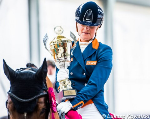 Anne Meulendijks wins the Wojtek Markowski Memorial Trophy for being the high scoring Grand Prix rider at the 2019 CDI-W Zakrzow