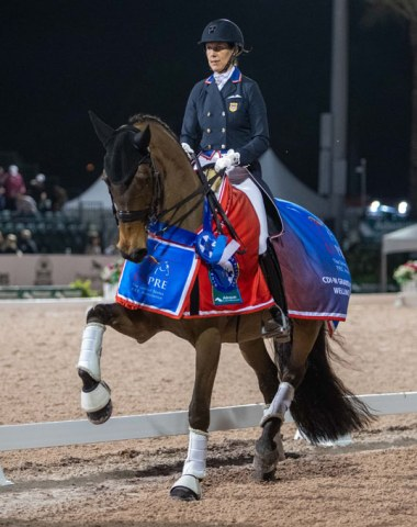 Olivia Lagoy-Weltz and Rassing's Lonoir win the CDI-W Grand Prix Kur to Music under the lights. The class was sponsored by USPRE