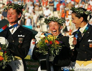 Anky van Grunsven is ecstatic with her second consecutive Olympic gold medal