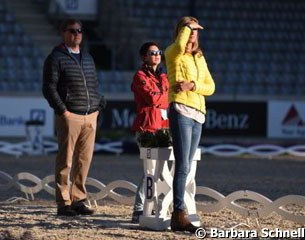 Sven and Gonnelien Rothenberger with Monica Theodorescu keeping an eye on Sönke training Cosmo
