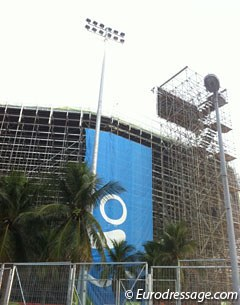 Olympics on a budget : not enough money left to have the entire volley ball stadium wrapped...