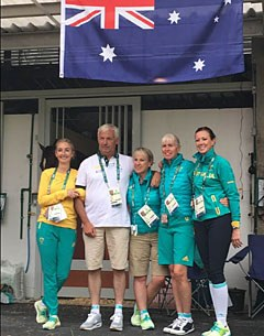 The Australian dressage team with Kristy Oatley, team trainer Ton de Ridder, Sue Hearn, Mary Hanna, and Lyndal Oatley