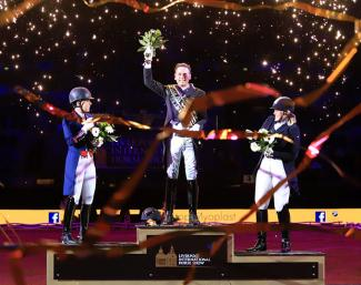 Carl Hester on top of the podium at the 2017 Liverpool International Horse Show