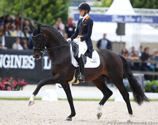 Kirsten Brouwer and Ferdeaux at the 2017 World Young Horse Championships :: Photo © Astrid Appels