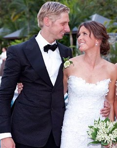 Kittel and Oatley at their wedding in 2010