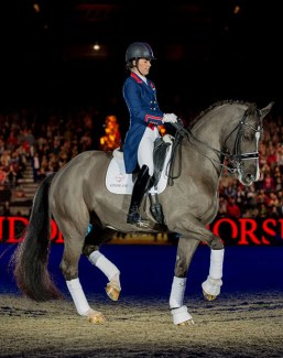 Double Olympic Champion Charlotte Dujardin in a Flying Changes bespoke jacket