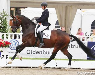 Frederic Wandres and Furstenfee at the 2016 Oldenburg Young Horse Championships in Rastede :: Photo © LL-foto