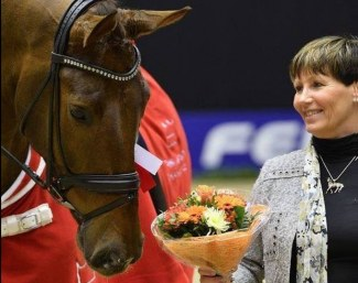 Jytte Kolster with her home bred Jukebox (by Jazz x Rubinstein x Donnerhall), which won the 2016 Danish Warmblood Young Horse Championship :: Photo © Ridehesten