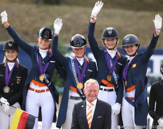 Team Holland with Daphne van Peperstraten, Milou Dees, Kimberly Pap and Thalia Rockx win team gold at the 2018 European Junior Riders Championships :: Photo © Astrid Appels