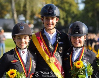 Jana Lang, Moritz Treffinger, Anna Middelberg are the pony medalists at the 2018 German Youth Riders Championships in Munich :: Photo © Sina Schäper