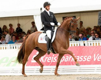 Andreas Helgstrand and Fiontina at the 2015 World Young Horse Championships :: Photo © Christina Beuke