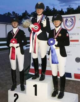The pony podium at the 2018 Norwegian Dressage Championships