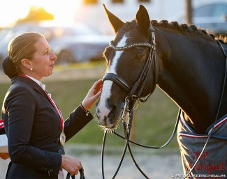 Astrid Neumayer and Rodriguez at the horse's retirement ceremony at the 2018 Austrian Championships :: Photo © Petra Kerschbaum