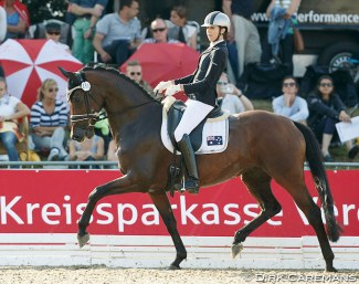 Simone Pearce and Felicia at the 2015 World Young Horse Championships :: Photo © Dirk Caremans
