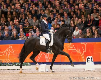 Joyce Lenaerts and Fellini at the 2015 KWPN Stallion Licensing :: Photo © Digishots