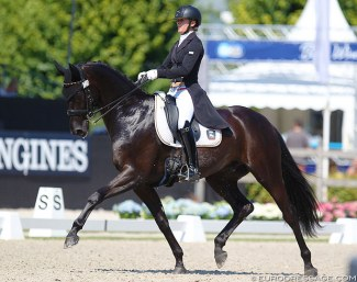 Alexandra Sessler and Sir Max at the 2018 World Young Horse Championships :: Photo © Astrid Appels