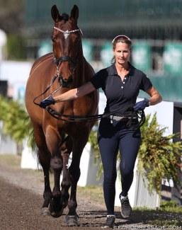 Dominican republic's Yvonne Losos de Muniz and Aquamarijn at the trot up for the 2019 CDI 5* Wellington :: Photo © Astrid Appels