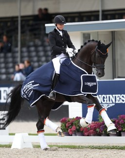 Ann-Christin Wienkamp and Don Martillo win the 2017 World Young Horse Championships in Ermelo in the 5-year old division :: Photo © Astrid Appels