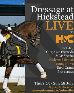Hickstead International Dressage streamed live by Horse & Country