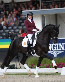 Emmelie Scholtens and Kevin Costner Texel in the 4-year old finals at the 2019 World Young Horse Championships :: Photo © Astrid Appels