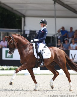 Juliane Burfeind and Ibiza at the 2018 World Young Horse Championships :: Photo © Astrid Appels