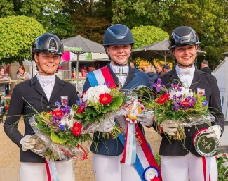 Celine Wagner, Jamie-Lee Lange and Lynn Thill on the junior podium at the 2019 Luxembourg Dressage Championships :: Photo © Emile Mentz