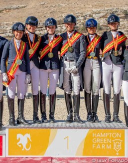 The gold medal winners at the 2019 Spanish Youth Riders Championships in Segovia :: Photo © Lily Forado