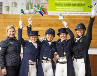 South Africa claimed the final team ticket for Dressage at the Tokyo 2020 Olympic Games in the Group F qualifier at Exloo, The Netherlands tonight. (L to R) Ingeborg Sanne, Tanya Seymour, Nicole Smith, Laurienne Dittmann and Gretha Ferreira :: Photo © Leanjo de Koster)