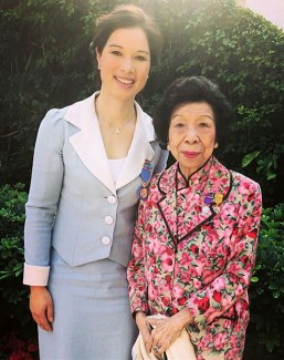 Jacqueline Siu with her grandmother at the 2019 Hong Kong Honours and Awards Ceremony