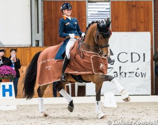 Anne Meulendijks and Avanti win the 2019 CDI-W Zakrzow World Cup Qualifier :: Photo © Lukasz Kowalski