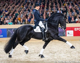 Marc-Peter Spahn and Horse of the Year Elias 494 in front of a sell-out crowd at the 2020 Friesian Stallion Licensing in Leeuwarden :: Photo © Digishots