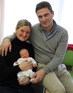 Kristine Möller and Paul Engel with their newborn son Felix