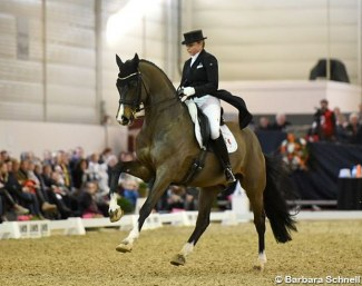 Dorothee Schneider and Faustus at the 2020 CDN Munster Indoor :: Photo © Barbara Schnell