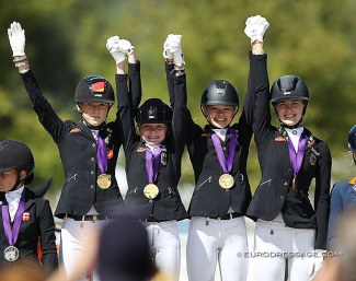 Lucie-Anouk Baumgürtel, Rose Oatley, Antonia Roth and Shona Benner win team gold for Germany at the 2020 European Pony Championships :: Photo © Astrid Appels