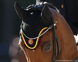 Logo of the Belgian Equestrian Federation (KBRSF) on a fly cap :: Photo © Astrid Appels