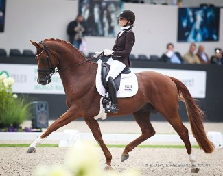 Dinja van Liere and Independent Little Me at the 2019 World Young Horse Championships :: Photo © Astrid Appels