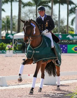 Cesar Parra and Mr Bumblebee score a double victory and personal best at the 2021 CDI-W Wellington :: Photo © Sue Stickle