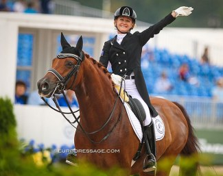 Julie Brougham and Vom Feinsten at the 2018 World Equestrian Games :: Photo © Astrid Appels