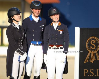 Melanie Doughty, Christian Simonson and Katherine Mathews finish third in the CDIO-YR Nations up in Hagen :: Photo ©Astrid Appels